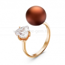 """Двойное кольцо """"Dior"""" с шоколадной жемчужиной 10-10,5 мм. Артикул 10867"""
