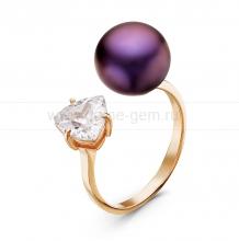"""Двойное кольцо """"Dior"""" с черной жемчужиной 9,5-10 мм. Артикул 10868"""