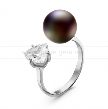 """Двойное кольцо """"Dior"""" с черной жемчужиной 9,5-10 мм. Артикул 10869"""