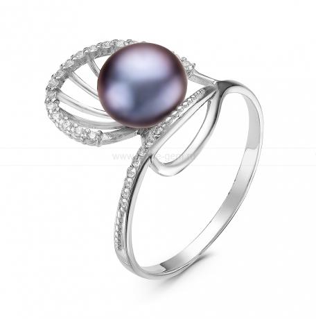 Кольцо из серебра с черной жемчужиной 7-7,5 мм. Артикул 10870