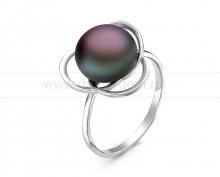 Кольцо из серебра с черной жемчужиной 9,5-10 мм. Артикул 10873