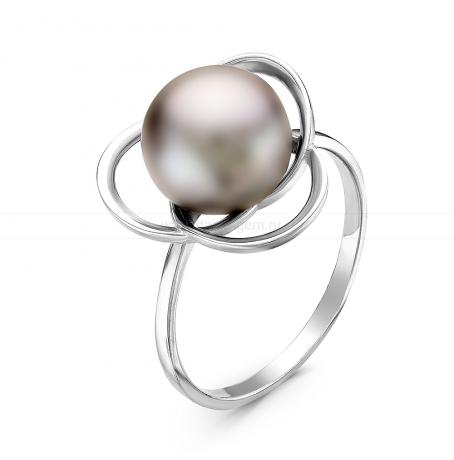 Кольцо из серебра с серебристой речной жемчужиной. Артикул 10874