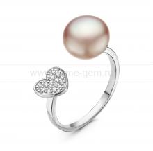 """Двойное кольцо """"Dior"""" с лавандовой жемчужиной 9,5-10 мм. Артикул 10875"""