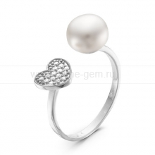 """Двойное кольцо """"Dior"""" с белой жемчужиной 9,5-10 мм. Артикул 10876"""