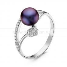 Кольцо из серебра с черной речной жемчужиной. Артикул 10878
