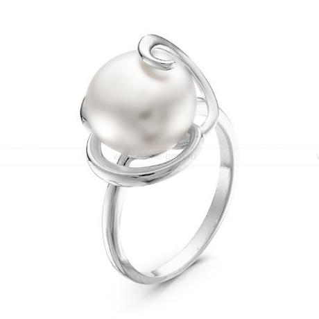 Кольцо из серебра с белой жемчужиной 9,5-10 мм. Артикул 10879