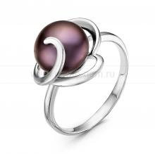 Кольцо из серебра с черной жемчужиной 9,5-10 мм. Артикул 10880