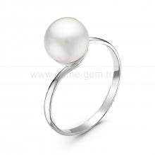 Кольцо из серебра с белой речной жемчужиной 7,5-8 мм. Артикул 10882