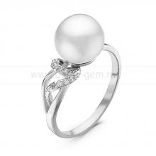Кольцо из серебра с белой речной жемчужиной 8,5-9 мм. Артикул 10884