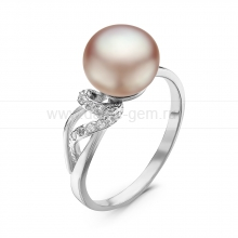 Кольцо из серебра с розовой речной жемчужиной. Артикул 10885