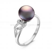 Кольцо из серебра с черной речной жемчужиной. Артикул 10886