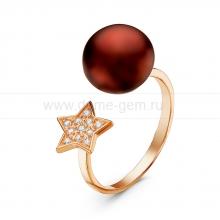 """Двойное кольцо """"Dior"""" с шоколадной жемчужиной 10-10,5 мм. Артикул 10888"""