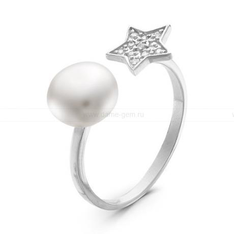 Кольцо с белой речной жемчужиной. Артикул 10889