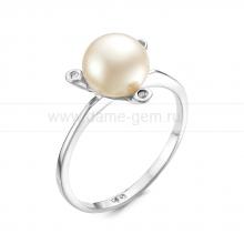 Кольцо из серебра с белой речной жемчужиной. Артикул 10892