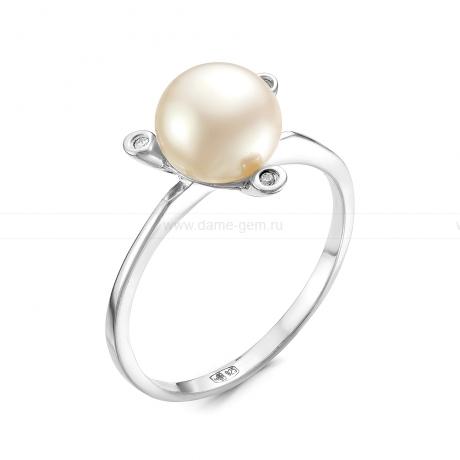 Кольцо из серебра с белой жемчужиной 9 мм. Артикул 10892