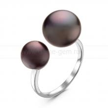 """Двойное кольцо """"Dior"""" с черными жемчужинами 7-10 мм. Артикул 10895"""