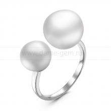 """Двойное кольцо """"Dior"""" с белыми жемчужинами 7-10 мм. Артикул 10897"""