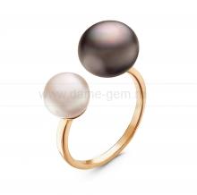"""Двойное кольцо """"Dior"""" с белой и черной жемчужинами 7-10 мм. Артикул 10898"""