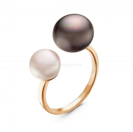 Кольцо с черной и белой речной жемчужиной. Артикул 10898