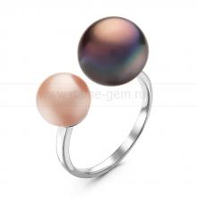 """Двойное кольцо """"Dior"""" с черной и розовой жемчужиной 7-10 мм. Артикул 10899"""