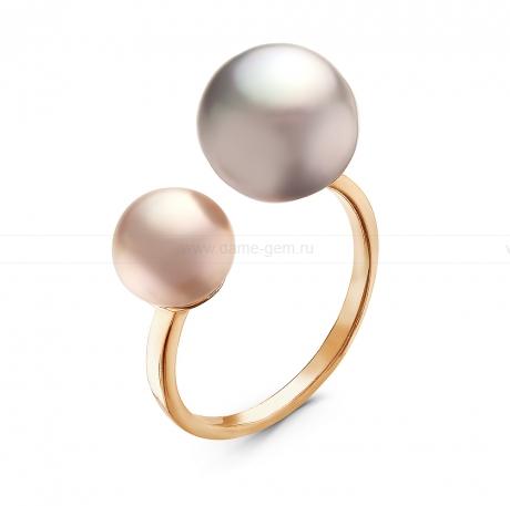 Кольцо с розовой и серой речной жемчужиной. Артикул 10900