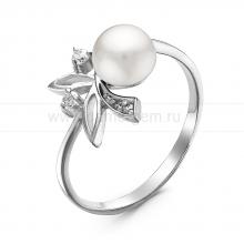 Кольцо из серебра с белой речной жемчужиной. Артикул 10902