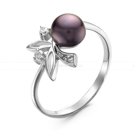 Кольцо из серебра с черной речной жемчужиной. Артикул 10903