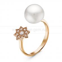 """Двойное кольцо """"Dior"""" с белой жемчужиной 8,5-9 мм. Артикул 10904"""