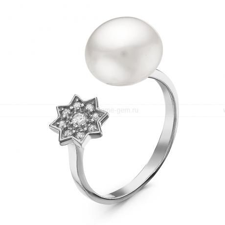 Кольцо с белой речной жемчужиной. Артикул 10905