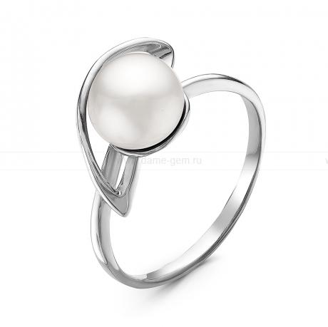 Кольцо из серебра с белой жемчужиной 7,5-8 мм. Артикул 10910