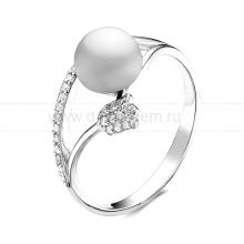 """Кольцо """"Тюльпан"""" из серебра с белой жемчужиной 7,5-8 мм. Артикул 10911"""