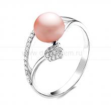 Кольцо из серебра с розовой речной жемчужиной. Артикул 10912