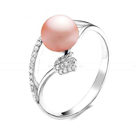 Кольцо из серебра с розовой жемчужиной 7,5-8 мм. Артикул 10912