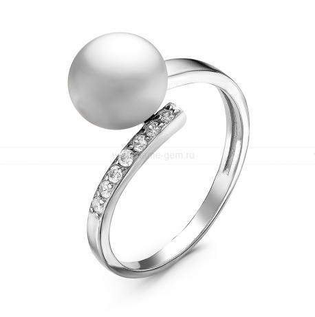 Кольцо из серебра с белой речной жемчужиной. Артикул 10915