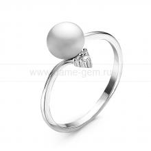 Кольцо из серебра с белой речной жемчужиной. Артикул 10917