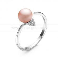 Кольцо из серебра с розовой речной жемчужиной. Артикул 10918