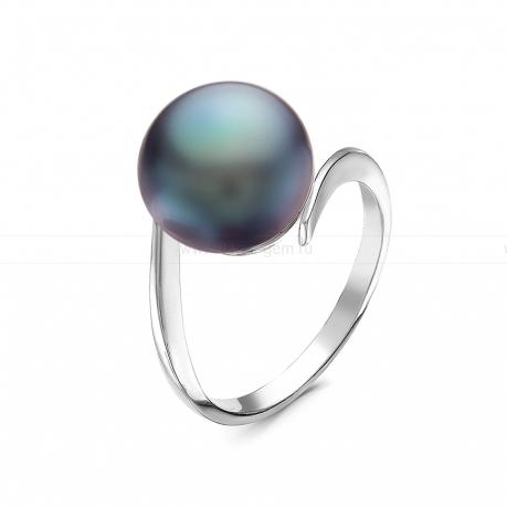 Кольцо из серебра с черной речной жемчужиной 10,5-11 мм. Артикул 10919
