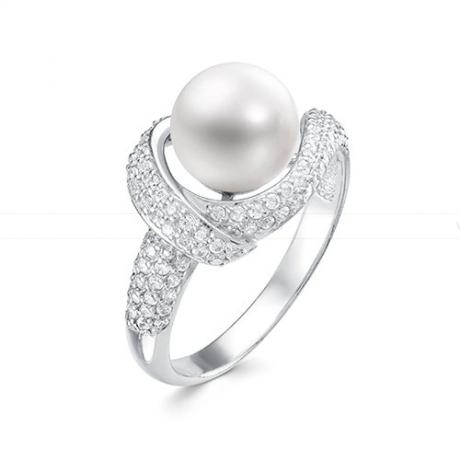 Кольцо из серебра с белой жемчужиной 8,5-9 мм. Артикул 10920