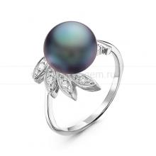 Кольцо из серебра с черной речной жемчужиной. Артикул 10922