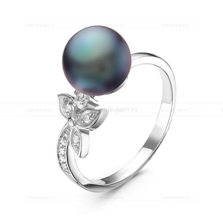Кольцо из серебра с черной жемчужиной 8,5-9 мм. Артикул 10923