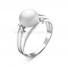Кольцо из серебра с белой речной жемчужиной 8,5-9 мм. Артикул 10925