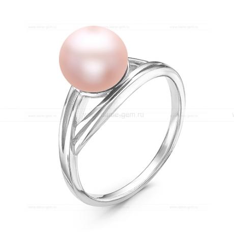 Кольцо из серебра с розовой жемчужиной 7,5-8 мм. Артикул 10926