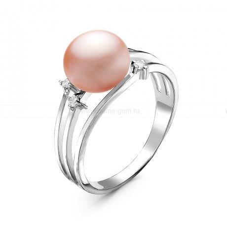Кольцо из серебра с розовой жемчужиной 8-9 мм. Артикул 10927