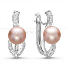 Серьги из серебра с розовыми жемчужинами. Артикул 10928