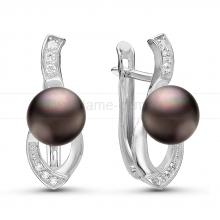 Серьги из серебра с черными жемчужинами 7-7,5 мм. Артикул 10932