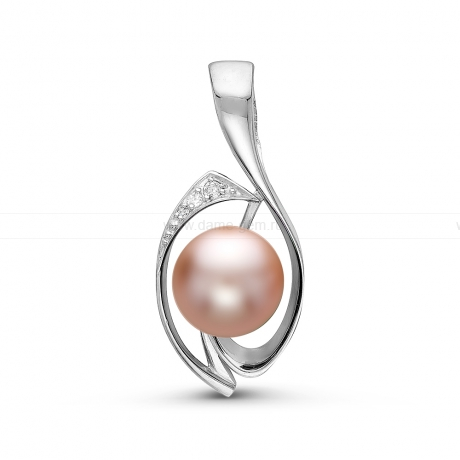 Кулон из серебра с розовой речной жемчужиной 8,5-9 мм. Артикул 10938