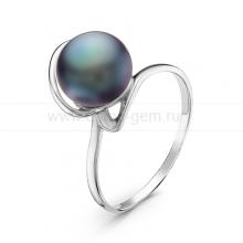 Кольцо из серебра с черной речной жемчужиной. Артикул 10941