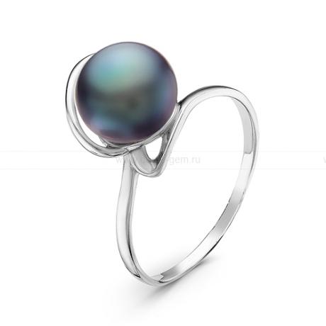 Кольцо из серебра с черной речной жемчужиной 8,5-9,5 мм. Артикул 10941