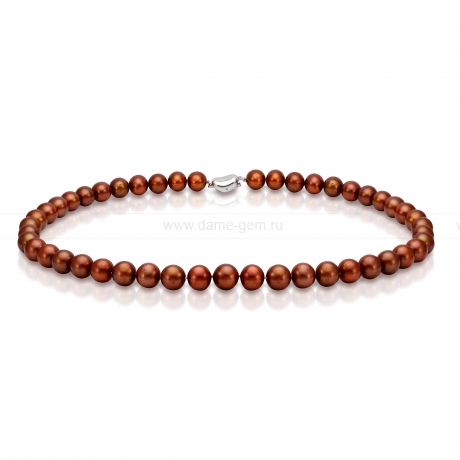 Ожерелье из шоколадного круглого морского жемчуга 7,5-8 мм. Артикул 10943