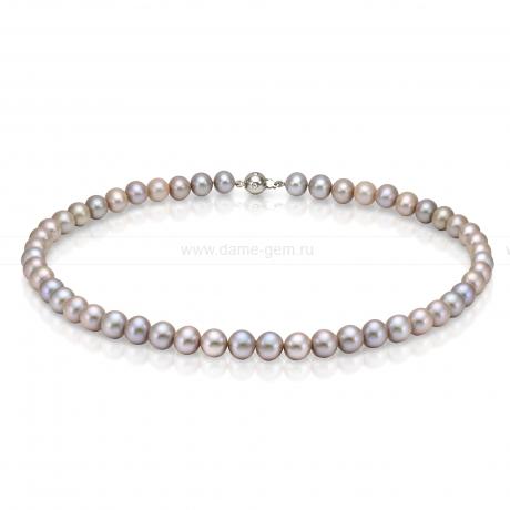 Ожерелье из серебристого круглого морского жемчуга 7,5-8 мм. Артикул 10944